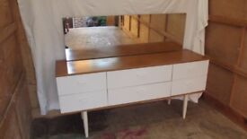 REDUCED LOVELY 6 DRAWER DRESSING TABLE CHEST WITH LONG MIRROR VERY GOOD CONDITION BARGAIN