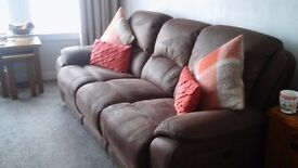 Stunning Brown Nubuck 3 Seater Recliner Sofa and Recliner Chair