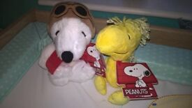 BNWT Snoopy and Woodstock cuddly toys