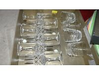 6 lead crystal champagne flutes/ 4 lead crystal whiskey tumblers