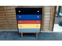 Retro wood chest of drawers