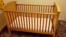 Large pine cot bed - excellent condition with waterproof mattress