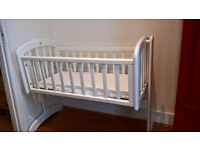John Lewis Anna Swinging Crib and mattress. Perfect condition. Must go due to move abroad.