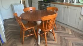 Wooden table and 4 chairs for sale