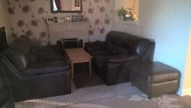 leather sofas x 2 and a matching poofe slight marks hence price only 3 years hardly used choc brown