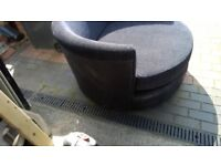 Black and Velvet suede Swivel Love CUDDLE Chair
