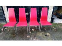 4 X CHROME AND RED FAUX LEATHER DINING CHAIRS GOOD CONDITION FREE LOCAL DELIVERY