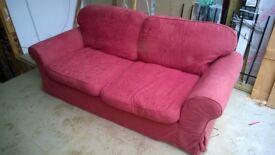 Three seater sofa, Red fabric