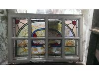7 x Antique / Vintage Victorian Style Stained Glass Leaded wooden Sash Windows very rare