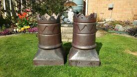 2 Salt Glazed Vintage King Crown Chimney Pots