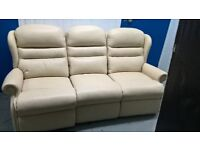 3 seat cream leather style sofa.. ex display delivery poss