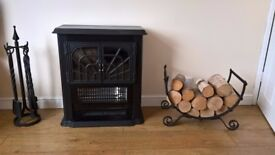 Cast Iron Electric Fire with companion set and log carrier