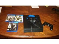 Playstation 4 500gb with one pad, three games and a turtle beach headset. £180
