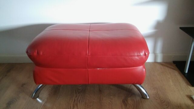 Red Leather Pouffe Footstool Ottoman