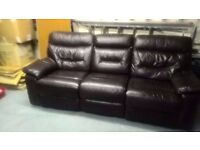 Free Recliner Leather/PVC 3 Seater
