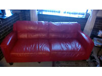 2 x Italian Red Leather Sofa's