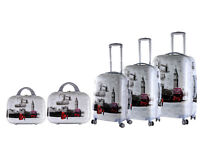 NEW London 5 Piece Set 4 Wheel Luggage Suitcase Trolley Holiday Travel Bag Case Hard Shell Suitcases