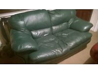 green leather sofa 2 seater settee