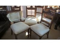 UPHOLSTERY PROJECT set of 6 Dining Chairs, seats intact, backs require upholstering