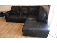 Black Leather Corner Sofa for FREE