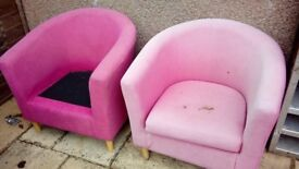 Nice old pair of barrel type chairs for upholstering/upcycling.