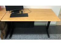 Used Light Wooden Desk with Black Trestle Legs - Foldable - 1 Available