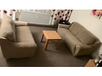 3 seater + 2 seater leather sofas + coffee table - collection only