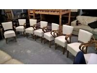 lovely design leather and wood chairs x 11