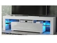 White high gloss TV stand with lights can deliver