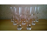 *FINAL REDUCTION* 9 tall, elegant, heavy wine glasses. 9 inches tall with solid glass bases