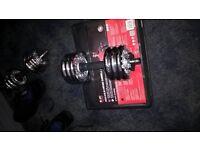 20kg chrome adjustable dumbbells & bench.