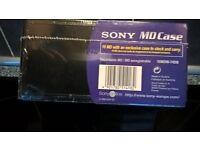 Unused Sony Minidisc x 10 in Storage Case