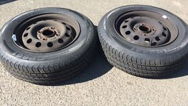 165/70R13 79T tyres and steel wheels