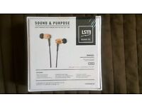 LSTN sound co. wooden earphone with in line microphone