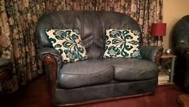 Leather 2 Seater Sofa & 2 Chairs