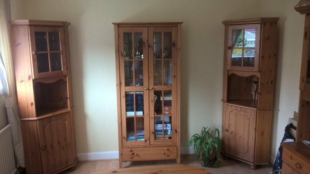 Display Cabinet Bookcase Plus 2 Matching Corner Units