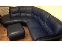 Leather corner sofa with ottoman foot stool
