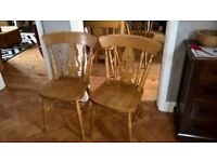 8 Pine Fiddle Back Chairs