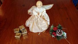 CHRISTMAS XMAS TREE FAIRY ANGEL & HOLLY & DECS