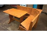 cathedral style kitchen seating with table