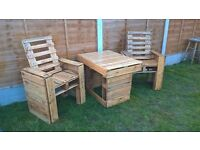 Garden furniture, set of 3 - table + 2 chairs, made with pallets.