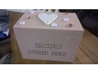 Wooden polka dot recipe box with heart detail