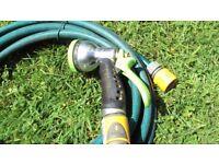 Garden spray gun and 9+ metres of hose
