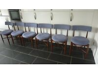 SET OF SIX MID CENTURY G PLAN FRESCO DINING CHAIRS