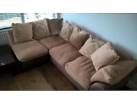Brown Corner Sofa with matching stool/seat - Excellent Condition