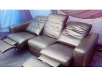 Leather recliner sofa. FREE delivery 10 mile radius.