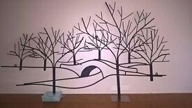 Metal wall art - Winter tree and bridge scene, H56cm x W94cm xD1cm, (pick up only)