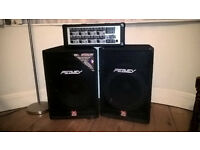 "Peavey 6 channel 120watt amp, 15"" Hysis speakers and stands"