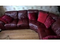 7 Seater Leather Sofa in Deep Red Colour
