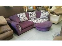 Purple and grey cuddle sofa & large swivel chair